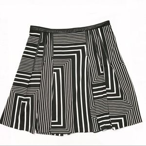 Calvin Klein Fit Flare Abstract Skirt Black White